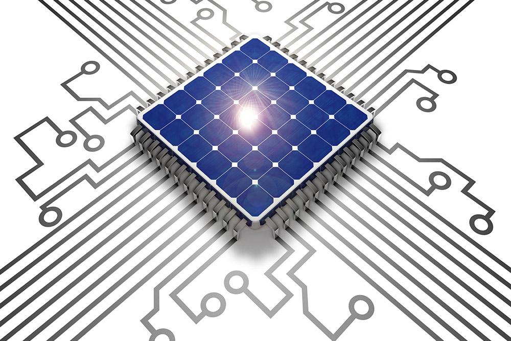 Solarmodule als Komponenten einer Solaranlage in grafischer Darstellung